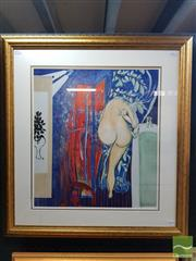 Sale 8548 - Lot 2019 - Brett Whiteley Arkie in the Shower, decorative print, 76 x 69cm (frame size)