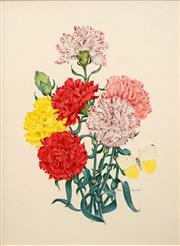 Sale 8665A - Lot 5231 - Peter Longhust (1922 - ) - Carnations and Butterfly 37 x 27cm