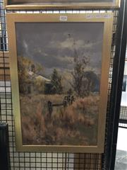 Sale 8833 - Lot 2058 - Allan Fizzell - Country Scene, 1986, oil on board, frame size: 56 x 38.5cm, signed and dated lower right