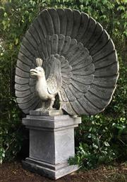 Sale 8857H - Lot 47 - A  Large Carved Greenstone Fine Detail Peacock Statue On Stand, Consists of 2 Parts Sculpture and base, General  Wear ,Has small cra...