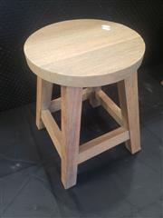 Sale 8951 - Lot 1097 - Set of Four Round Top Timber Stools (H: 46cm)