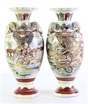 Sale 8972 - Lot 94 - A Pair of Satsuma Vases H: 33cm