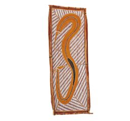 Sale 9150J - Lot 83 - ARTIST UNKNOWN Serpent natural pigments on bark 110 x 40 cm (total: 110 x 40 x 4 cm) unsigned