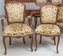 Sale 9140H - Lot 67 - A set of ten cabriole legged dining chairs including two carvers, all with gold acanthus upholstery to seat and back, Height of carv...