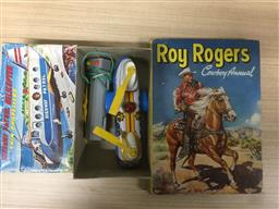 Sale 9152 - Lot 2572 - Vintage Japanese Toy Highway Patrol Helicopter in Box with Roy Rogers Cowboy Annual
