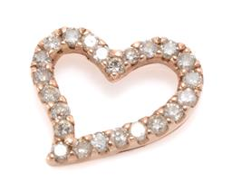 Sale 9168J - Lot 306 - A 10CT ROSE GOLD DIAMOND HEART PENDANT; open frame set with 23 round brilliant cut champagne diamonds (some chips), size 10.5 x 8.7m...