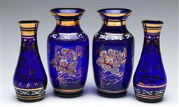Sale 9164 - Lot 165 - A Duo of Pairs of Vintage Cobalt Blue and Gilt Glass Vases, (H:16 &14cm)