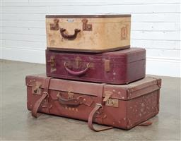 Sale 9188 - Lot 1324 - A collection of 3 vintage suitcases