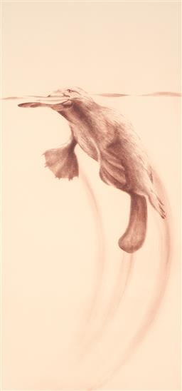 Sale 9216A - Lot 5033 - PETER HICKEY (1943 - ) Taronga Platypus, 1984 aquatint ed. 16/50 (unframed) 79.5 x 37.5 cm (sheet: 100 x 48 cm) signed and dated low...