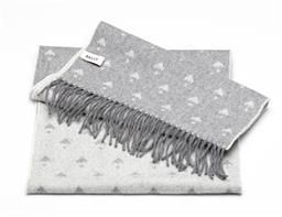 Sale 9253J - Lot 507 - A BALLY GREY & WHITE WOOL SCARF; 75/25 wool/ angora mix with Bally amorial pattern to fringe, size 175cm x 34cm.
