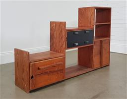 Sale 9255 - Lot 1045 - Timber stepped wall unit (h:93 w:145 d:33cm)