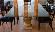 Sale 7984 - Lot 33 - A glass topped dining table on corinthian capital pedestal base.