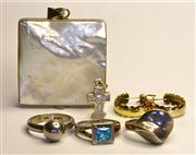 Sale 8036A - Lot 301 - A GROUP OF SILVER JEWWELRY; 3 rings, a pair gilt hoop earrings, a stone set cruciform pendant and a mother of pearl set pendant.