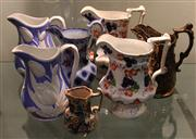 Sale 8047 - Lot 69 - 2 Pairs of Victorian Hand Gilded and Embossed Jugs, together w/ 3 Other Victorian Jugs.