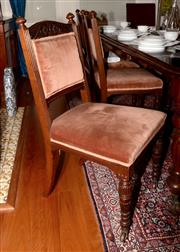 Sale 8107B - Lot 19 - A set of six late Victorian carved walnut dining chairs with cinnamon velvet upholstery.