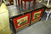 Sale 8115 - Lot 1044 - Oriental hand Painted Lift Top Cabinet