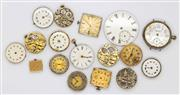 Sale 8265 - Lot 314 - A GROUP OF WATCH MOVEMENTS, including a pocket watch dial and a part silver cased watch, af.