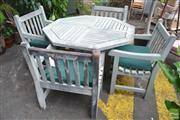 Sale 8331 - Lot 1584 - Five Piece Hardwood Outdoor Setting incl Octagonal Table & Four Chairs
