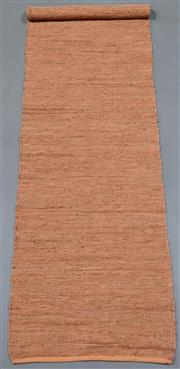 Sale 8438K - Lot 107 - Soft Terracotta Woven Leather Runner | 500x75cm, Pure Leather, Handwoven Leather Flatweave RugHandcrafted using recycled leather an...