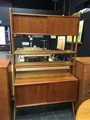 Sale 8493 - Lot 1009 - Kurt Østervig Modular Teak Wall Unit, with two cupboard sections and two open shelves
