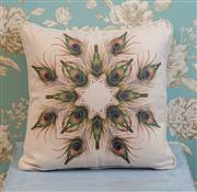 Sale 8500A - Lot 50 - A decorative Peacock print 100% Linen Cushion - Condition: As New - Size: 45cm