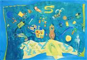 Sale 8545A - Lot 5082 - Sylvia Edwards - Still Life in Turquoise 42 x 60.5cm