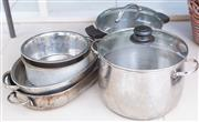 Sale 8550H - Lot 176 - A quantity of cooking wares including baking dishes and glass lidded pots, an electric benchtop casserole cooker together with a sil...