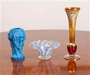 Sale 8774A - Lot 313 - A sundry group of glass including a Czechoslovakian blue bacchanalian style vase H x 13cm, A bohemian amber and gilt trumpet vase and..