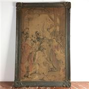 Sale 8795K - Lot 64 - A C19th framed tapestry of a nativity scene