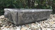 Sale 8857H - Lot 48 - A Large Oversized Carved Genuine Stone Dragon with Guardian Lion Ends, Pond Water Trough / Planter, General Wear ,Has Some Natural S...