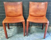 Sale 8967 - Lot 1016 - Pair of Mario Bellini Leather Clad Dining Chairs for Cassina (H:81 x W:47cm)