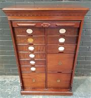 Sale 8976 - Lot 1035 - Late 19th/ Early 20th Century Walnut Tambour Front Filing Cabinet, enclosing three deep & nine shallows with recesses for labels (H:...