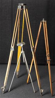 Sale 8984W - Lot 509 - A large timber surveyors tripod marked Chicago Steel Tape Co. together with a medium sized example and a smaller metal example. Heig...