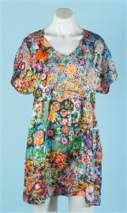 Sale 9090F - Lot 53 - A SEE BY CHLOE PUFFY SLEEVE SHIRT; in a multicoloured floral silk print, Size 8-10