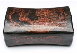 Sale 9098 - Lot 277 - Handpainted timber pillow depicting figures (W25cm)