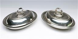 Sale 9098 - Lot 362 - Pair Of Silver Plated Lidded Silver Dishes W: 28cm