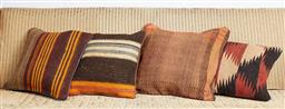 Sale 9123J - Lot 96 - Four throw cushions repurposed from Antique Kilim rugs, each with inserts and each approx 40 x 40cm
