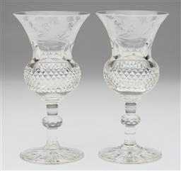 Sale 9123J - Lot 218 - A rare pair of antique hand cut lead crystal glasses, Scottish C: 1890's. The deep rims finely etched with Scottish thistles above t..