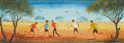 Sale 9150 - Lot 593 - KYM HART (1955 - ) Bush Soccer oil on canvas board 6.5 x 19.5 cm (frame: 29 x 42 x 2 cm) signed lower left