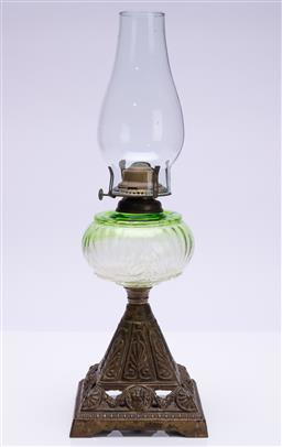 Sale 9185E - Lot 39 - A Crown crystal glass pty ltd kerosene lamp with green glass midsection and metal base, total Height 51cm