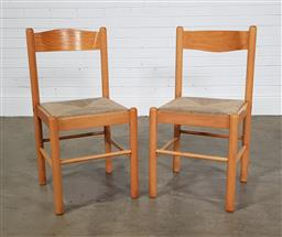 Sale 9255 - Lot 1201 - Pair of blonde wood dining chairs (h:84 x w:42cm)