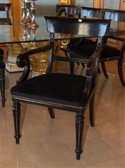 Sale 7984 - Lot 34 - A set of eight navy silk upholstered Regency style bar back dining chairs.