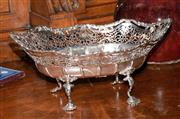 Sale 8015A - Lot 59 - A large silver Hardy Brothers raised & pierced fruit dish boat shape raised on four scroll Rococo supports