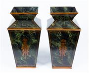Sale 8530A - Lot 207 - A pair of tapering form composite vases, with painted green marble effect finish, each facade decorated with flaming torcheres, some...