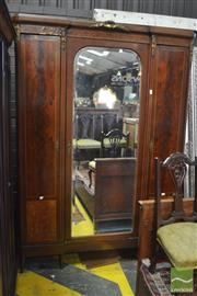 Sale 8390 - Lot 1075 - Mid C20th French-Style Flame Mahogany & Burr Walnut Armoire, with central mirrored door flanked by two hanging sections, decorated w...