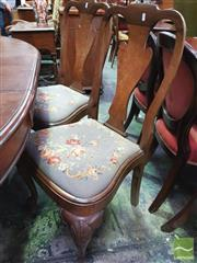 Sale 8444 - Lot 1041 - Set of Eight Georgian Style Walnut Dining Chairs, including two armchairs, with vase shaped splats & tapestry drop-in seats