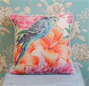 Sale 8500A - Lot 51 - A decorative Blue Budgie print 100% Linen Cushion - Condition: As New - Size: 45cm