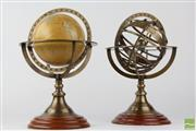 Sale 8540 - Lot 201 - Pair of Small Globes on Timber Stands -