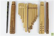 Sale 8551 - Lot 15 - A European carved flutes pan pipes and tin whistle