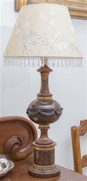 Sale 8530A - Lot 68 - A pair of brown marble table lamps with gilt filigree banding and elaborate shades with tear shaped drops, height 51.5cm without shades